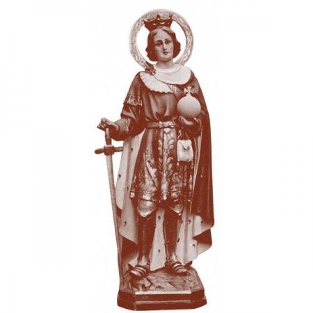 Personnage de crèche : Femme à la fontaine, en plâtre coloré