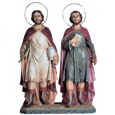 statue archange saint michel terrassant le d�mon bois naturel