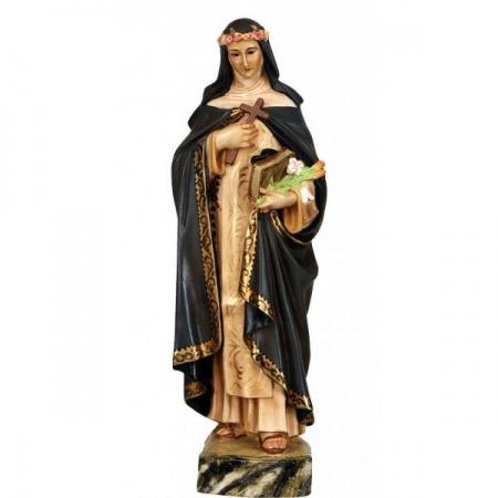 Statue de la Vierge à l'Enfant en bois décoré