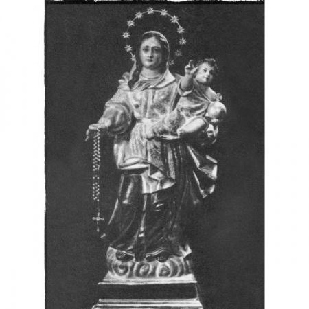 Statue Notre Dame de Lourdes en bois décoré