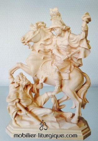Statue Saint Martin à cheval en bois naturel