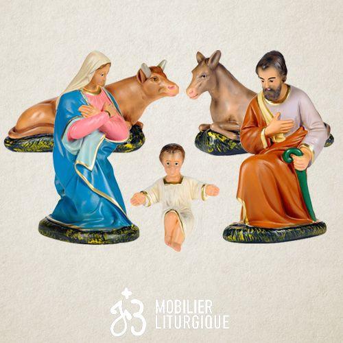Lot de 5 personnages de crèche : Sainte Famille, âne et boeuf, en plâtre coloré