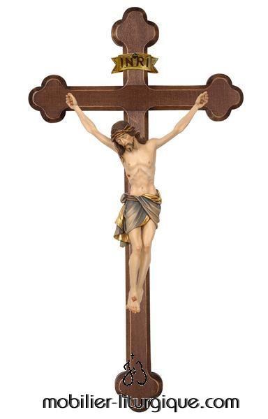 Statue-Christ-croix-bois-decore-ML020021