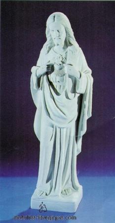Statue Sacré Coeur de Jésus Blanc STEX0178-004