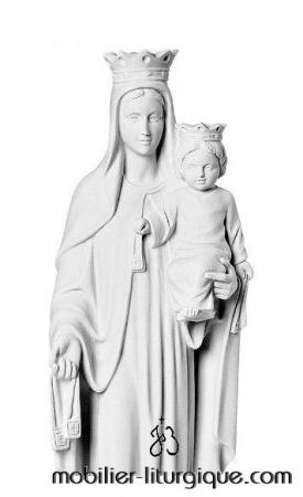 Détail-Statue-Vierge-enfant-couronnée-marbre-STEX0133