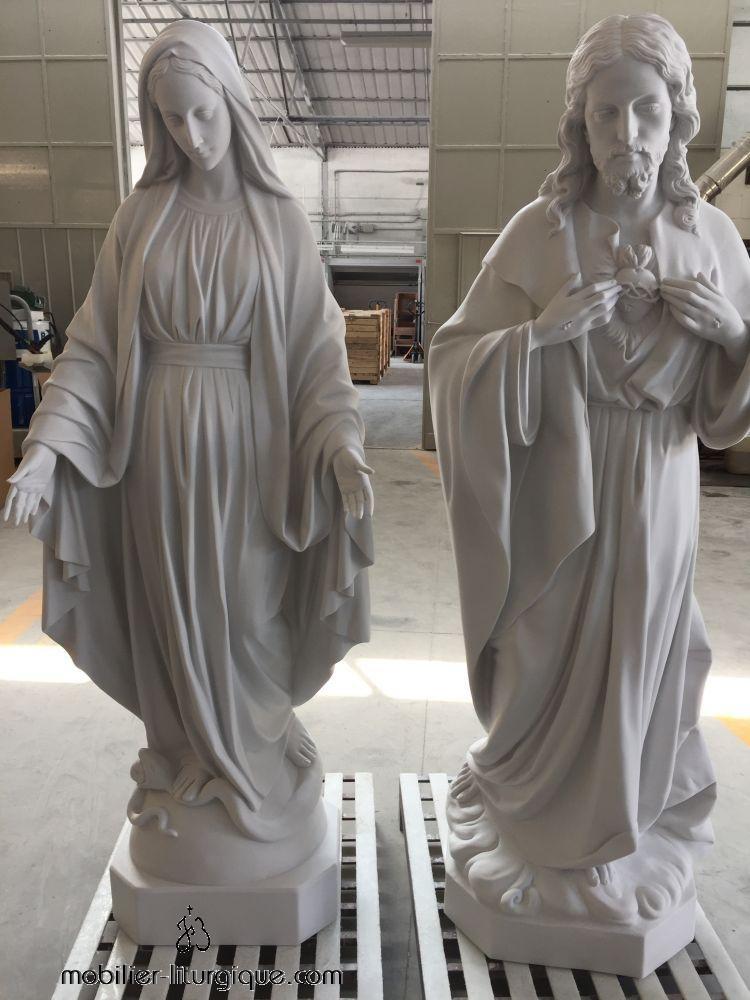 STATUE DE LA VIERGE MARIE ET DU CHRIST EN MARBRE ATELIER JS BRUNET