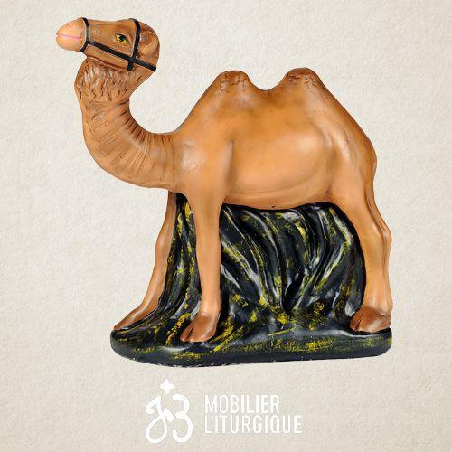 Animal de la crèche : Chameau, en plâtre coloré
