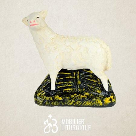 Animal de la crèche : Mouton, en plâtre coloré