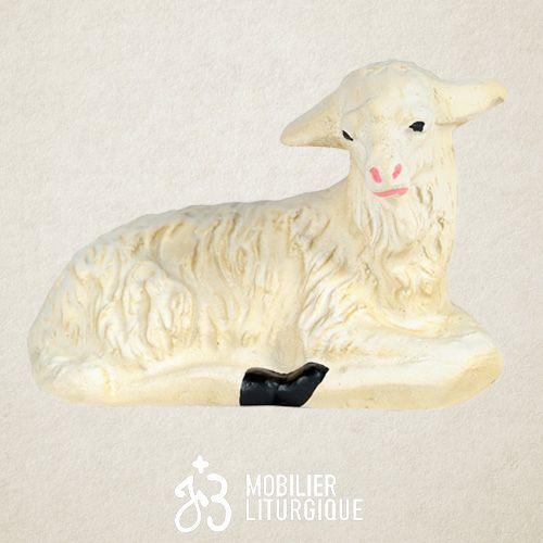 Animal de la crèche : Mouton couché, en plâtre coloré