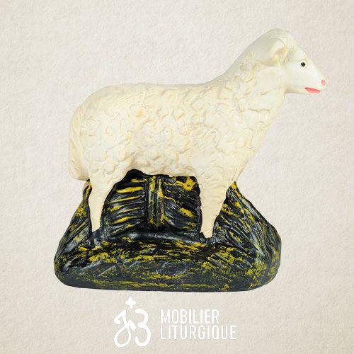 Animal de la crèche : Mouton debout, en plâtre coloré