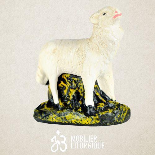 Animal de la crèche : Mouton la tête levée, en plâtre coloré