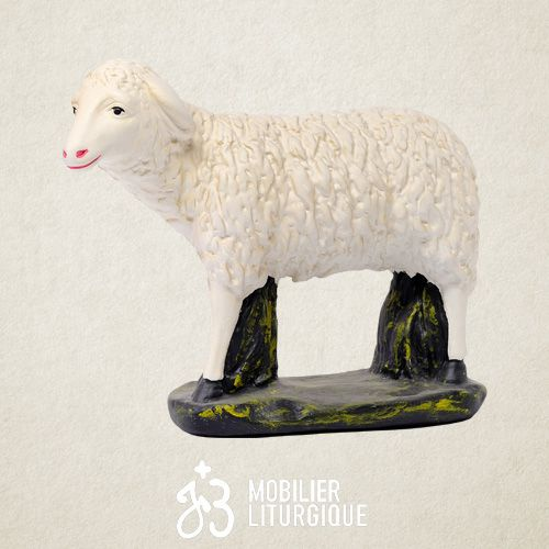 Animal pour crèche : Mouton debout, en plâtre coloré
