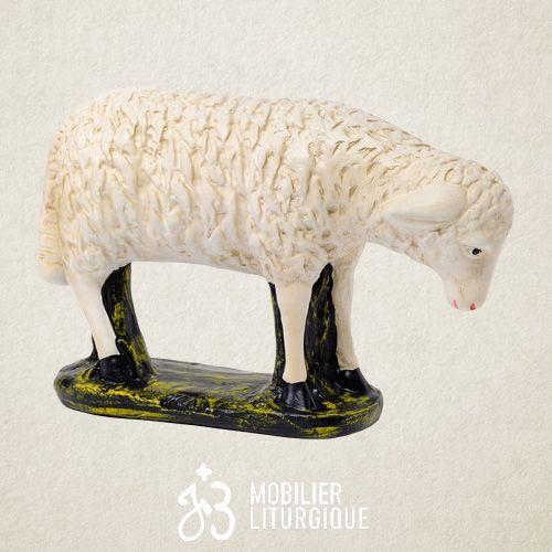 Animal pour crèche : Mouton tête baissée, en plâtre coloré