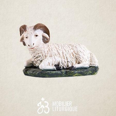 Animal pour crèche de 85 cm : Bélier couché x 2