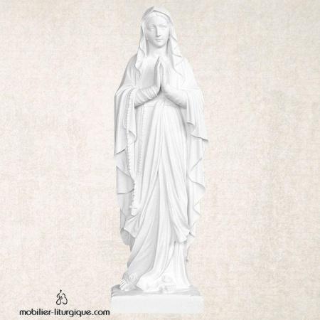 Bas-relief Notre-Dame de Lourdes en marbre blanc