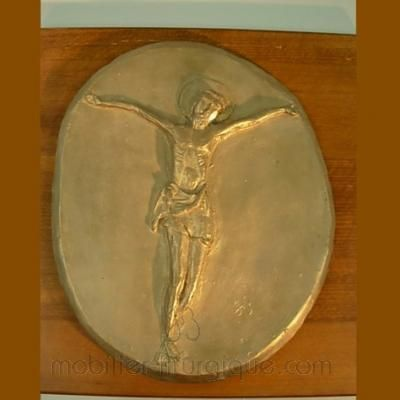 Christ sur plaque de bronze
