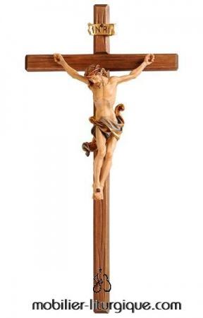 croix murale Jésus Christ crucifié en bois décoré