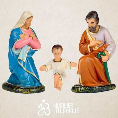 Lot de 3 personnages de crèche : Sainte Famille, en plâtre coloré