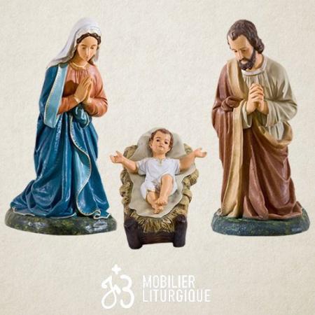 Lot de 3 personnages de crèche : Sainte Famille