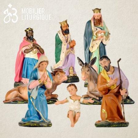 Lot de 8 personnages de crèche, en plâtre coloré