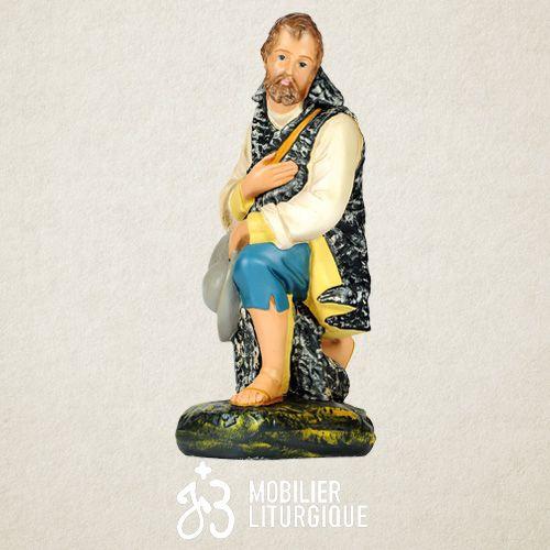 Personnage de crèche : Berger à genoux, en plâtre coloré