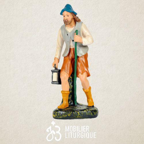Personnage de crèche : Berger avec lanterne, en plâtre coloré