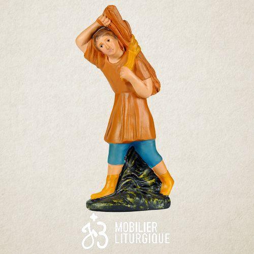 Personnage de crèche : Berger portant du foin, en plâtre coloré