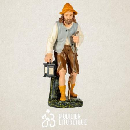 Personnage de crèche : Berger portant une lanterne, en plâtre coloré