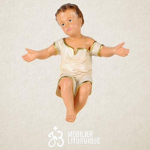Personnage de crèche : Enfant Jésus, en plâtre coloré