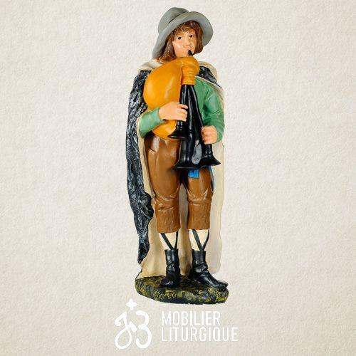 Personnage de crèche : Jeune berger jouant de la cornemuse, en plâtre coloré Polychrome