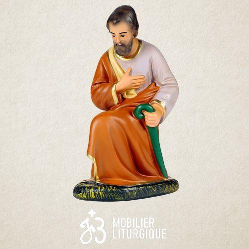 Personnage de crèche : Joseph, en plâtre coloré
