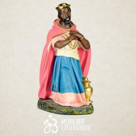 Personnage de crèche : Roi Mage Balthazar, en plâtre coloré