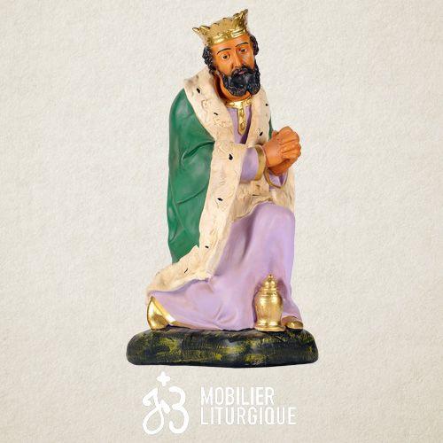 Personnage de crèche : Roi Mage Gaspard, en plâtre coloré