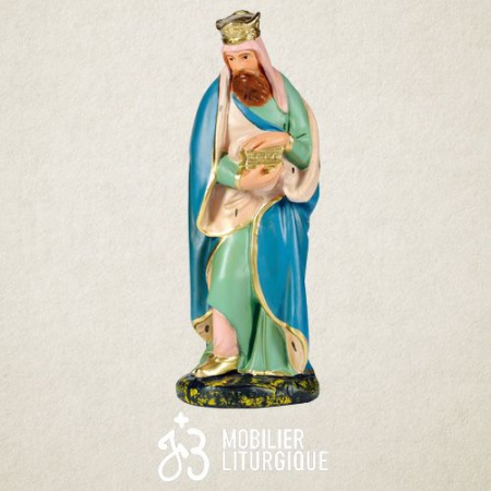 Personnage de crèche : Roi Mage Melchior, en plâtre coloré