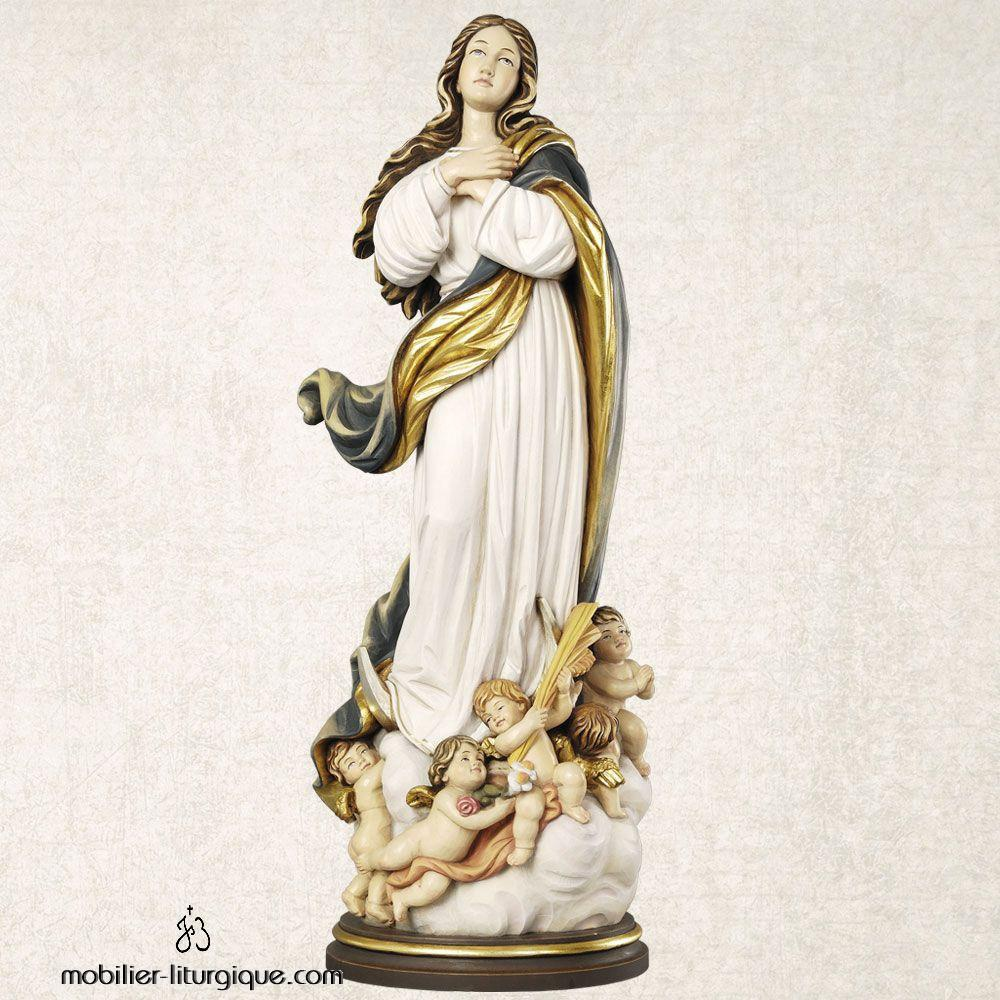 statue assomption vierge marie en bois coloré