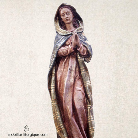 Statue de la Vierge Immaculée en bois sculpté et feuille d'or