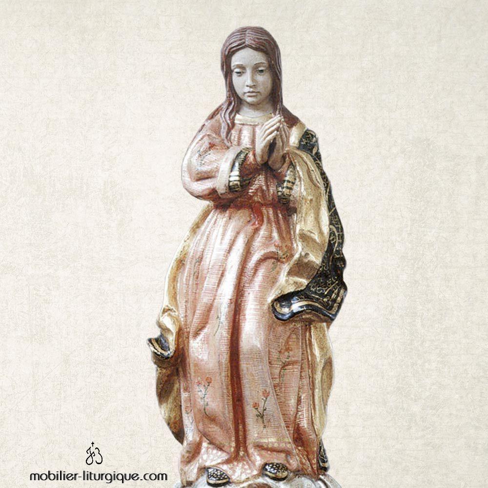 Statue de la Vierge Immaculée bois et feuille d'or