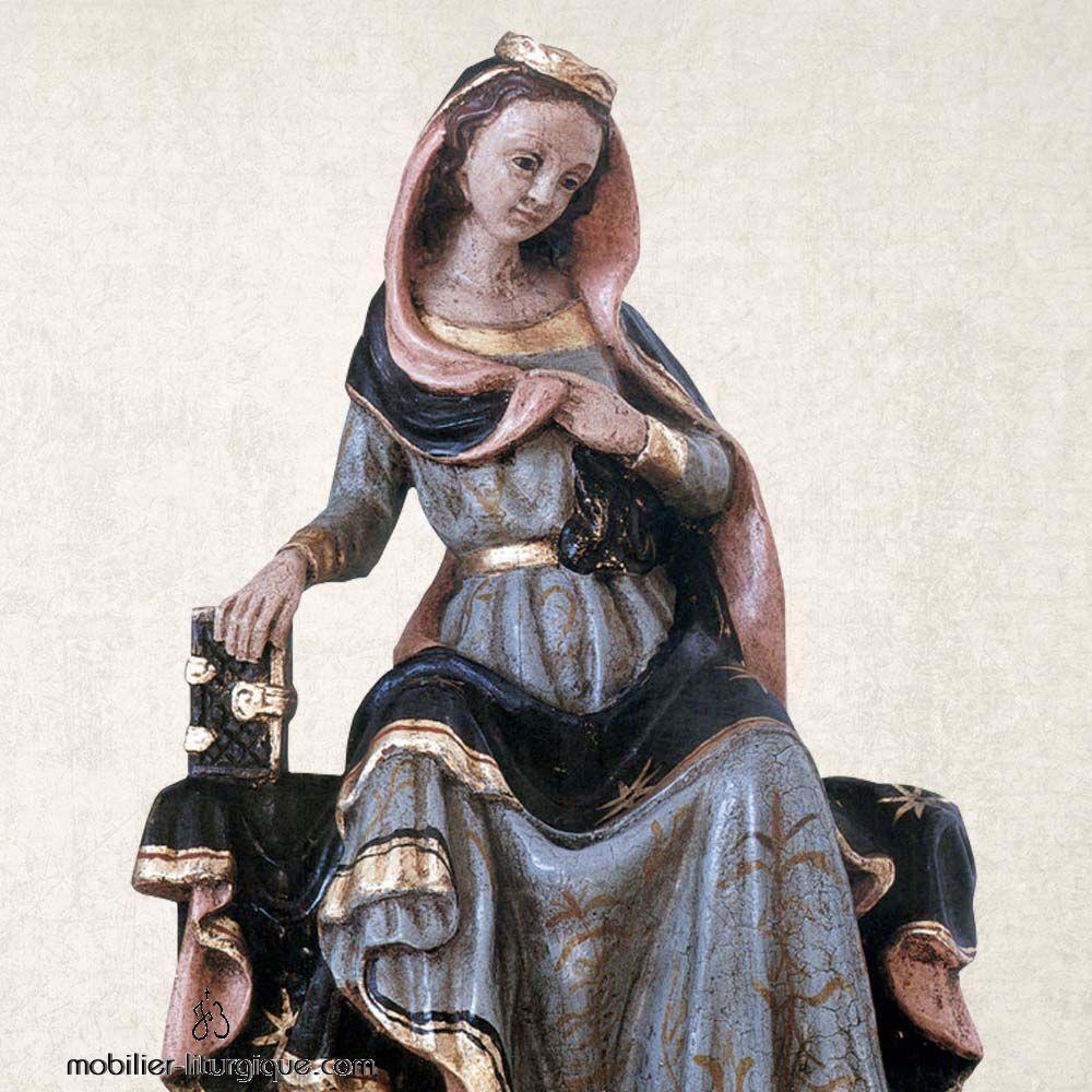 Statue de la Vierge Marie en bois et feuille d'or