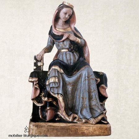Statue de la Vierge Marie en bois sculpté
