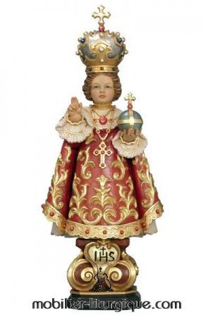 Statue Enfant Jésus de Prague en bois décoré