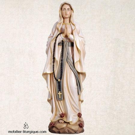 Statue Notre Dame de Lourdes en bois coloré