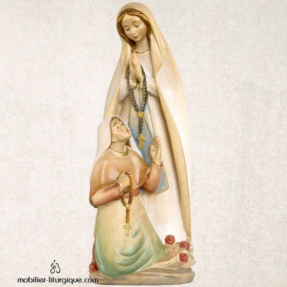 Statue Notre Dame de Lourdes et Sainte Bernadette en bois finition aquarelle