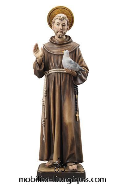 Statue Saint François d'Assise auréolé portant une colombe en bois décoré