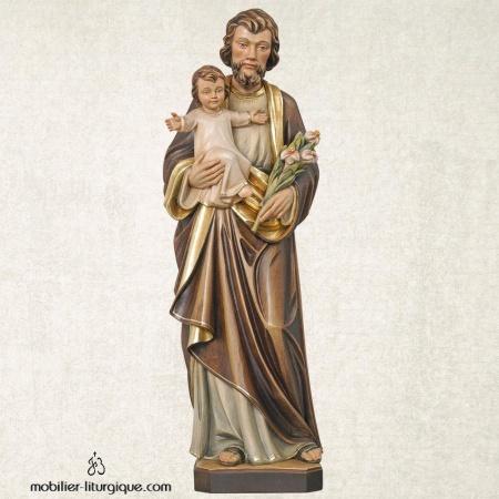 Statue Saint Joseph et l'Enfant Jésus en bois décoré