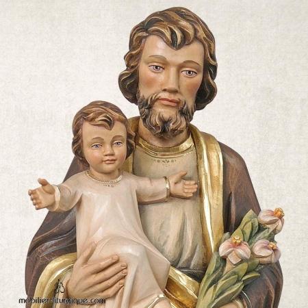 Statue Saint Joseph et l'Enfant Jésus en bois