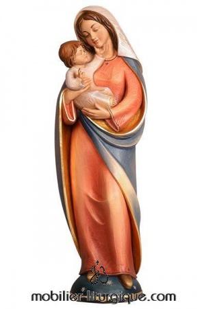 statue vierge à l' Enfant bois coloré