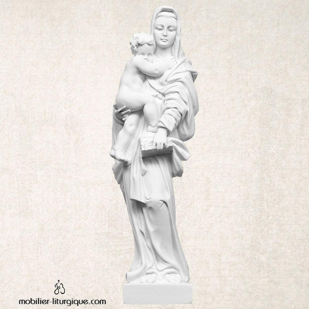 Statue Vierge à l'Enfant en marbre blanc