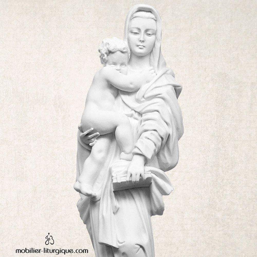 Statue Vierge à l'Enfant en marbre