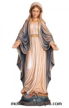 statue vierge miraculeuse en bois décoré