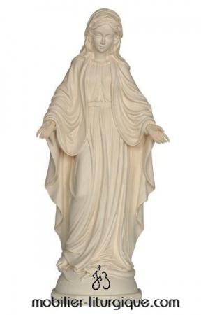 statue vierge miraculeuse en bois naturel